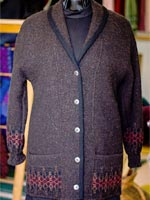 Shawl-collared wool cardigan